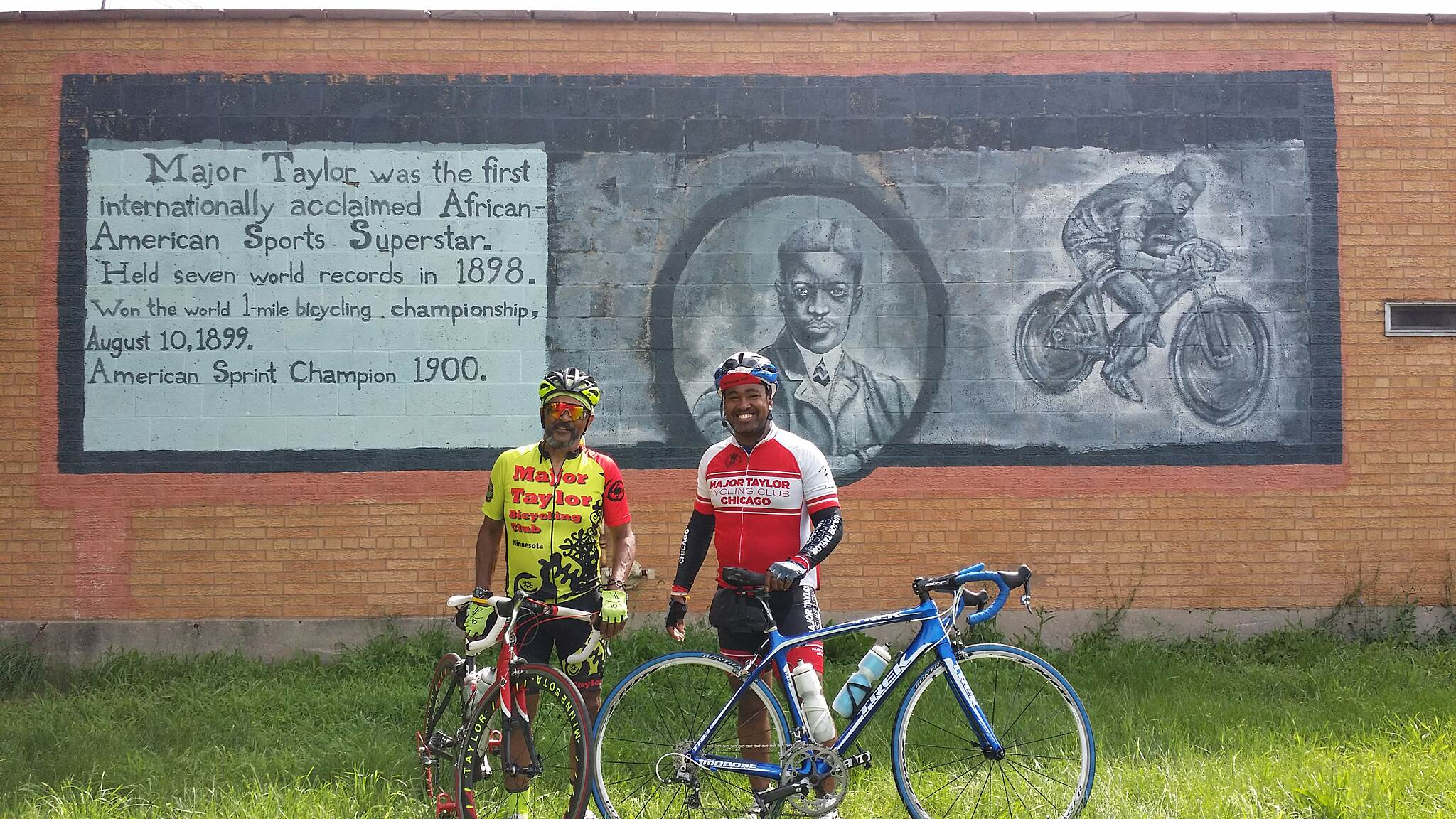 Major Taylor Trail Major Taylor Chi and MN The leaders of Major Taylor Chicago and Major Taylor Minnesota pose for a pic at the Major Taylor mural on the trail by 111th street.