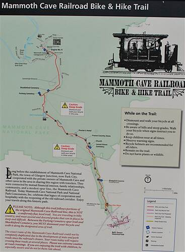 Mammoth Cave Railroad Bike & Hike Trail Trail Sign There is a few of these at various points on the trail.
