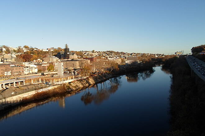 Manayunk Bridge Trail Manayunk Bridge Trail The waters of the Schuylkill retain their reflective quality even this late in the day. Taken late afternoon on a warm day in Nov. 2015.