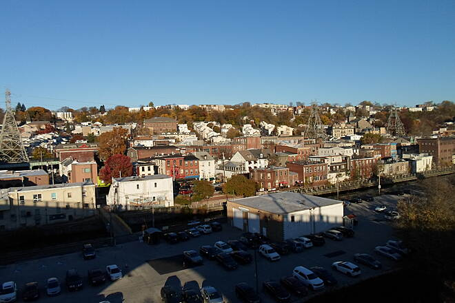 Manayunk Bridge Trail Manayunk Bridge Trail Another birds-eye view of northwest Philly. Taken Nov. 2015.