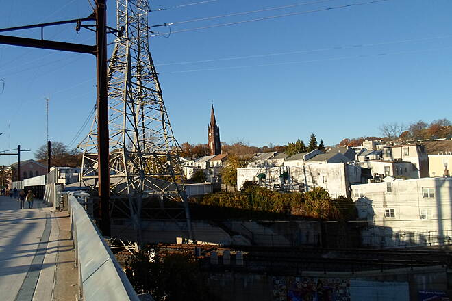 Manayunk Bridge Trail Manayunk Bridge Trail Manayunk skyline, as seen near the north end of the trestle. Taken Nov. 2015.