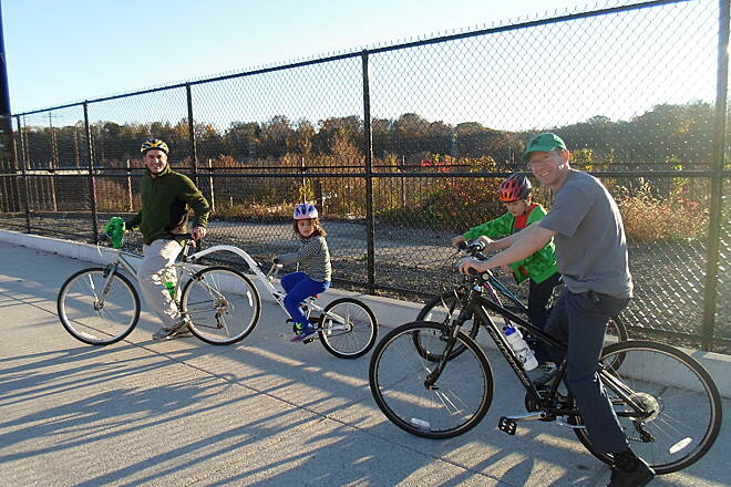 Manayunk Bridge Trail Manayunk Bridge Trail Fathers and their children enjoying an outing on the trestle on a warm autumn afternoon. Taken Nov. 2015.