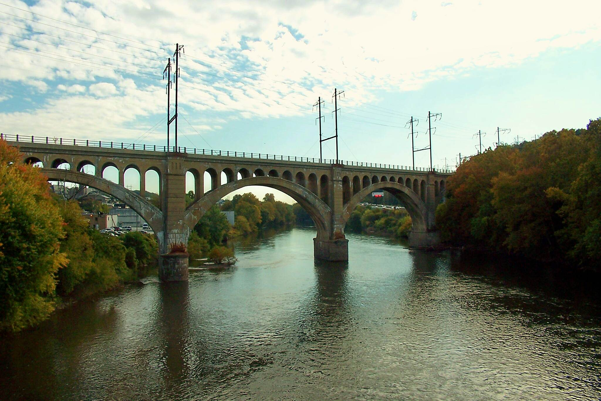 Manayunk Bridge Trail Pennsylvania Railroad Bridge  The bridge was built in 1918. This frontal view really showcases the whole bridge. Thanks to all the people who work to restore this monumental architectural beauty. This trail is a must.