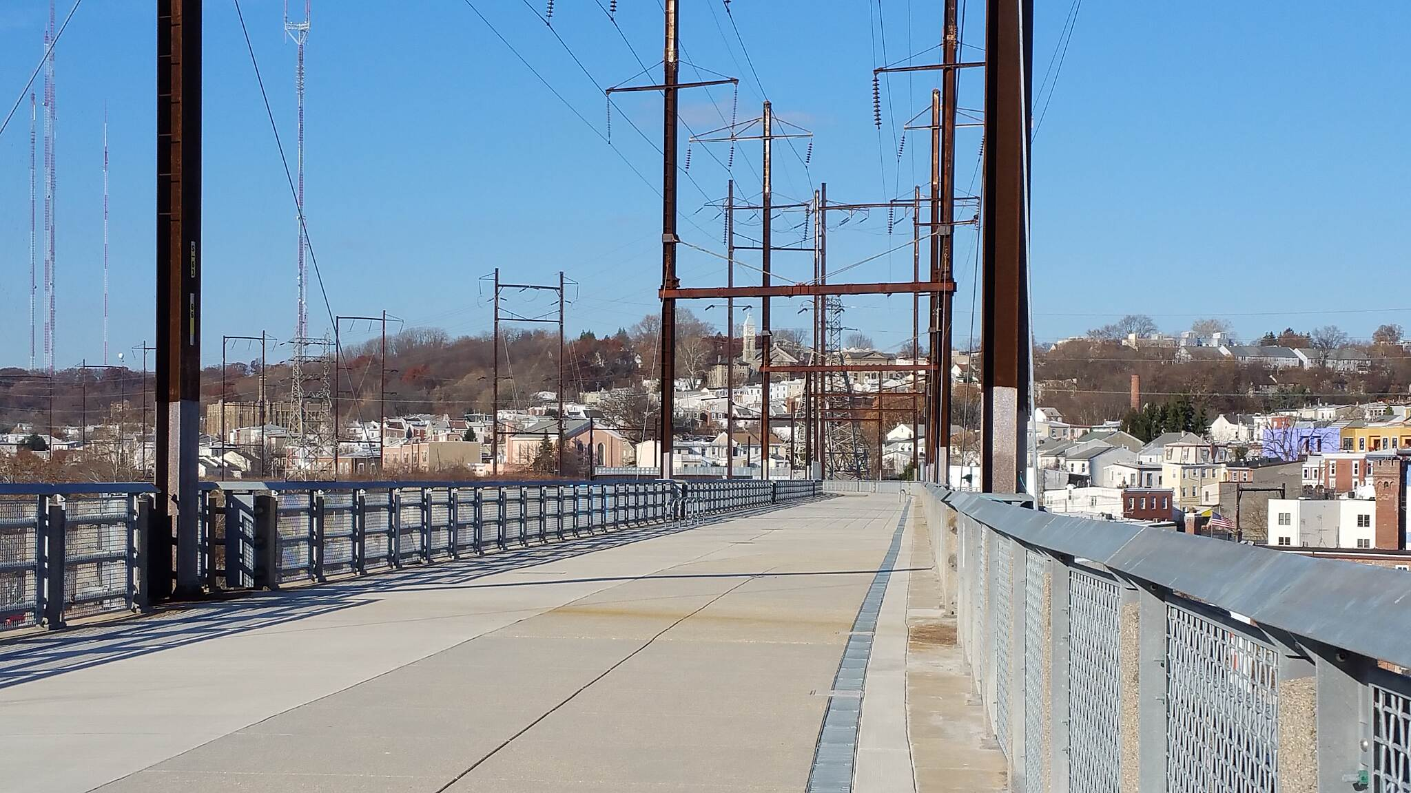 Manayunk Bridge Trail On Top Of The Trail  What a great day on this impressive bridge. Even though it is a little nippy l could not pass this opportunity to take some pictures.