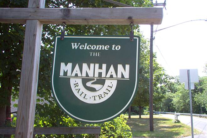 Manhan Rail Trail Manhan Rail Trail Welcome sign at South St.