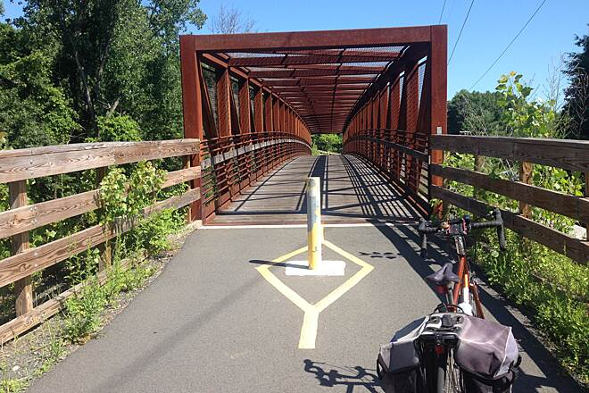 Manhan Rail Trail Bridge. Bridge on the Northampton portion of the trail.