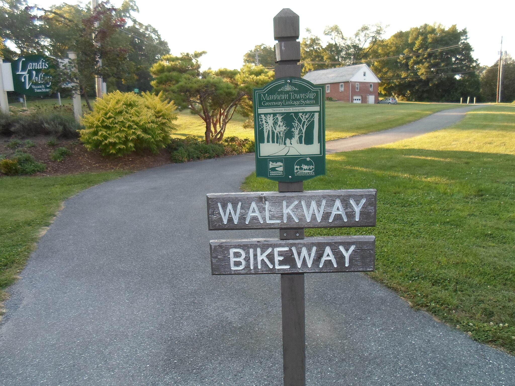 Manheim Township Bikeway Manheim Twp. Bikeway This sign marks the westernmost segment of the trail, which connects the parking lot for the Landis Valley Museum and Hands On House to Kissel Hill Road. Walkers and cyclists can continue further west by following a signed route along local streets.