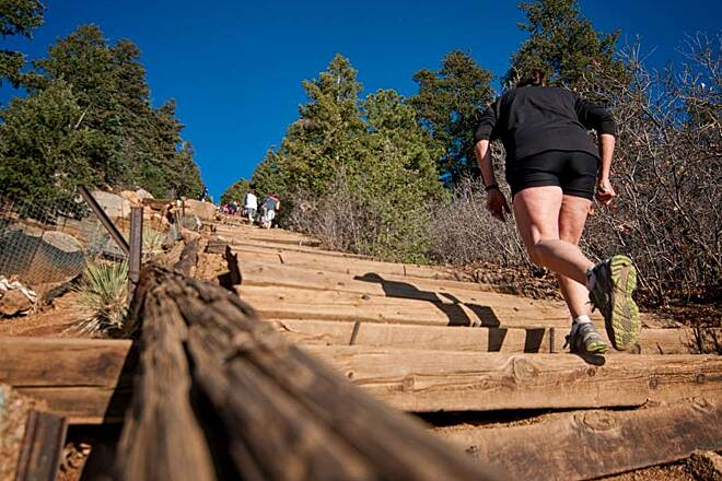 Manitou Incline Hikers in the Incline Photo courtesy VisitCOS.com