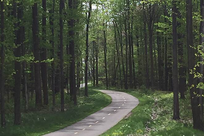 Maple Highlands Trail Coming out of Chardon A view of the Maple Highlands Trail as it heads north out of Chardon, Ohio.  May 10, 2017.