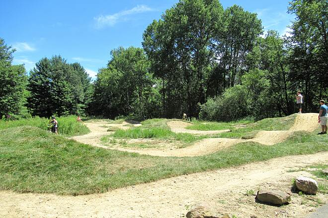 Maple Highlands Trail Pump Track Pump track in Claridon Woodlands Park, located a few feet off the trail.