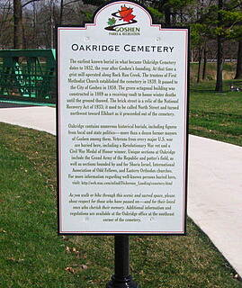MapleHeart Trail Interpretive sign in Oakridge Cemetery Trails goes through historic Oakridge Cemetery