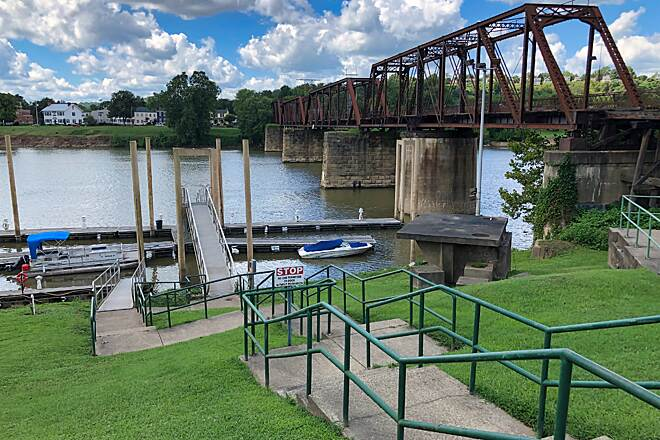 Marietta River Trail Marietta Harbor This is a view of Marietta Harbor located at the confluence of the Ohio and Muskingum Rivers.  The railroad bridge wasconverted into a pedestrian bridge to Harmar Village on the other side of the Muskingum.  August 2019.