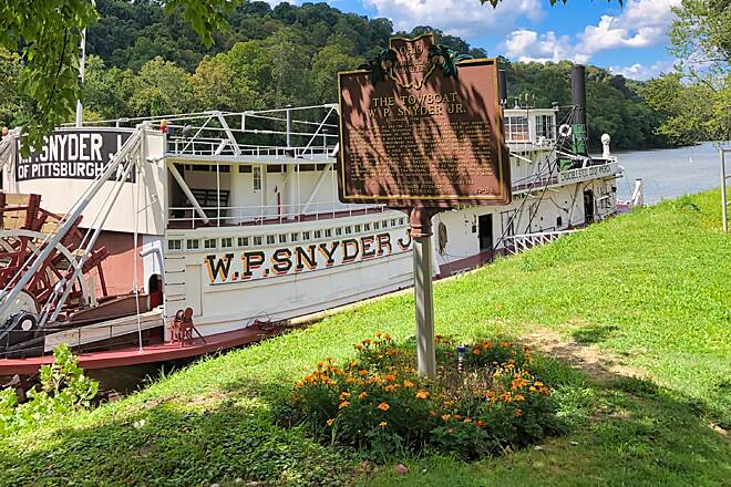 Marietta River Trail The Towboat W.P. Snyder Jr. Moored outside the Ohio River Museum, the W.P. Snyder Jr. is an example of a steam powered sternwheeler towboat that once was the predominant method of pushing barges along the Ohio River.  August 2019.