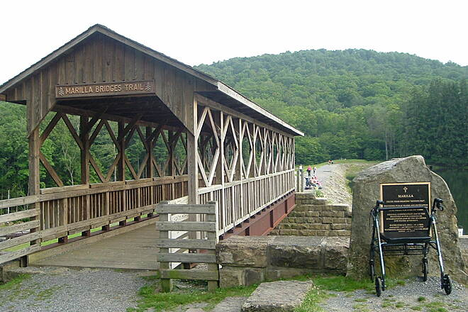 Marilla Bridges Trail Marilla Bridges Trail Trail in Bradford Pa. is small, only a mile, but very picturesque. Trail circles lake, stones are large not real good for bikes.
