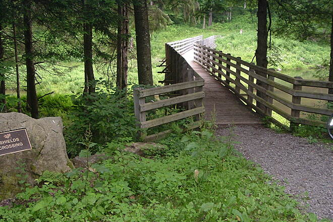Marilla Bridges Trail Shields Crossing Bridge One of a couple nice bridges around lake trail. Trail riding is not bad in the woods area, much smoother than on levee area.