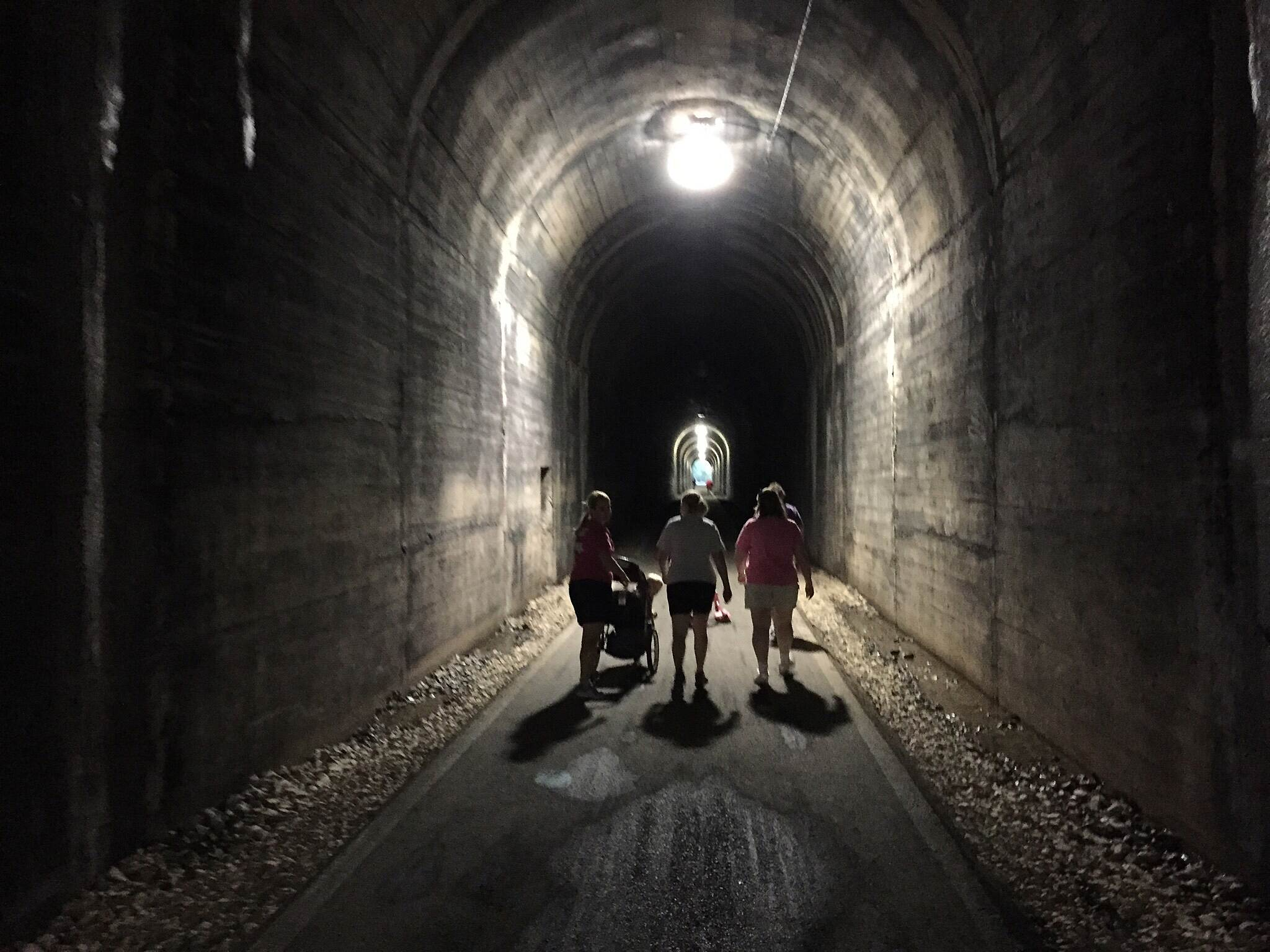 Marion County Trail (MCTrail) Walking through the tunnel.