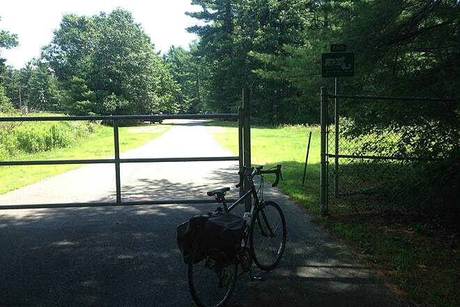 Mass Central Rail Trail (Norwottuck Branch) End. End of the Norwottuck Rail Trail.