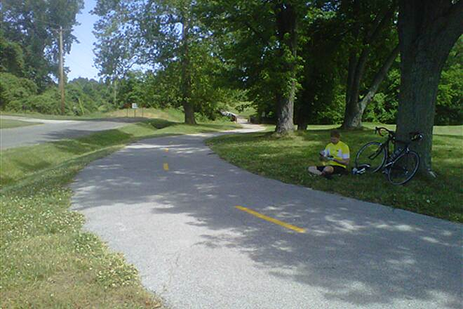 MCT Goshen Trail Resting on the Goshen My husband taking a break from riding