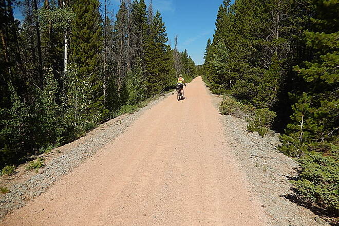 Medicine Bow Rail Trail south of Owen lake The first 5 miles south of Owen Lake are in great condition. Packed crushed gravel.