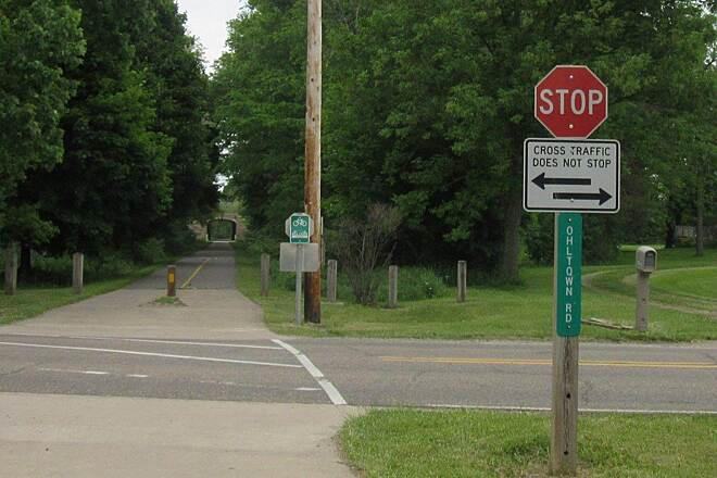 MetroParks Bikeway Ohltown Road Crossing Trail runs North & South, crosses over several roads