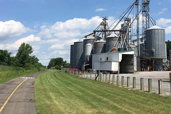 MetroParks Bikeway Canfield Grain Elevator A view of the grain elevator located along the trail between Newton Street and Youngstown-Salem Road in Canfield, Ohio.  June 24, 2017.