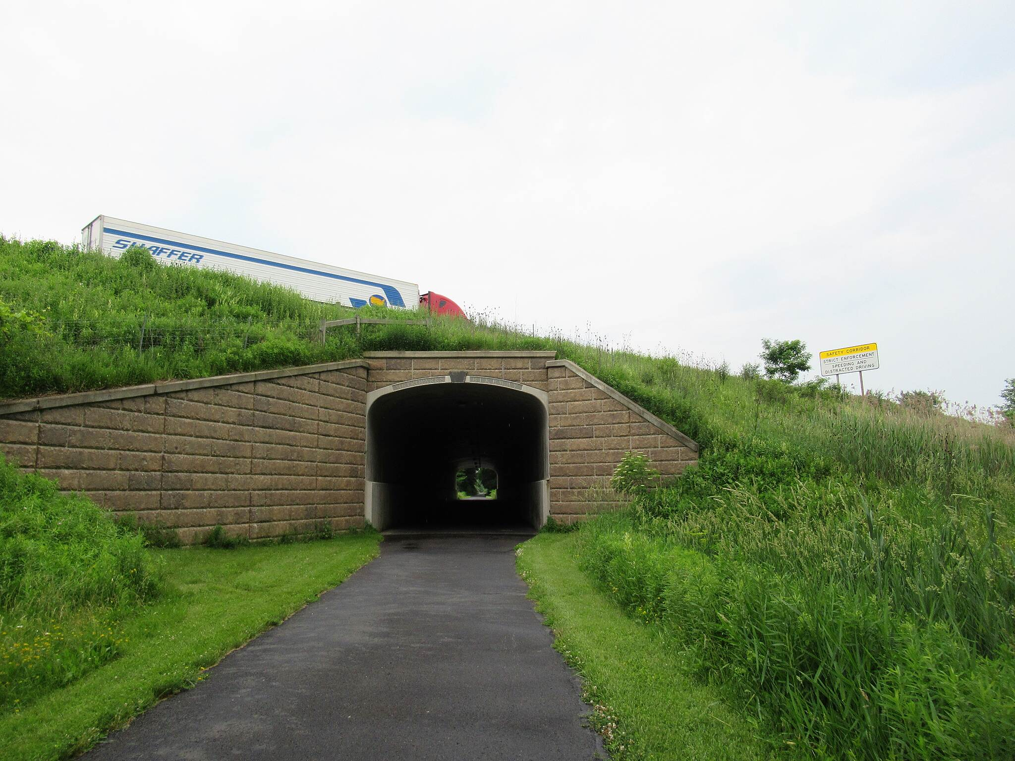 MetroParks Bikeway Traveling under I-80 Traveling under I-80 near Niles.  Short tunnel.