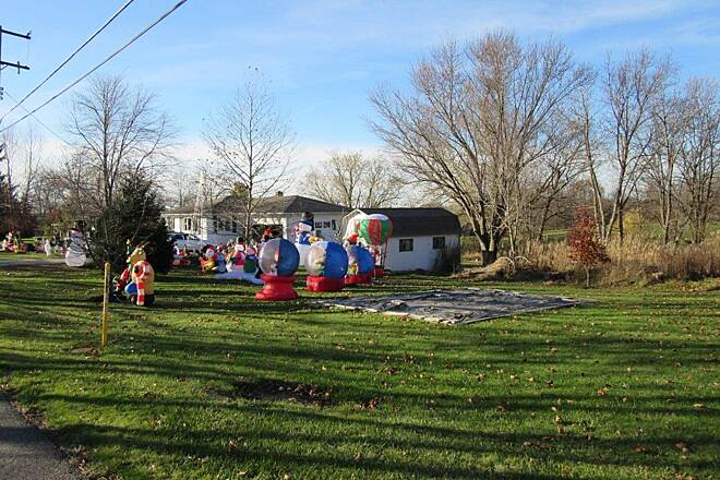 MetroParks Bikeway Christmas Decorations Just off the trail, getting ready for Santa!