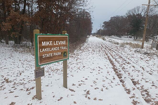 Mike Levine Lakelands Trail State Park A winter scene along the Mike Levine Lakelands Trail State Park Photo courtesy Michigan DNR