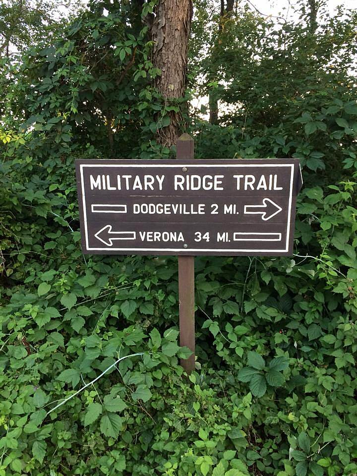 Military Ridge State Trail Military Ridge State Trail Military Ridge State Trail directional sign, obviously very close to the trail head and end at Dodgeville, WI.