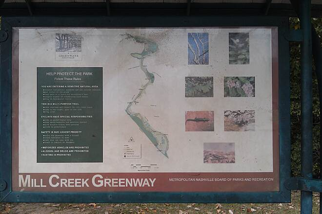 Mill Creek Greenway (TN) Map of Mill Creek Greenway Map is located inside the entrance at the far end of the parking lot.