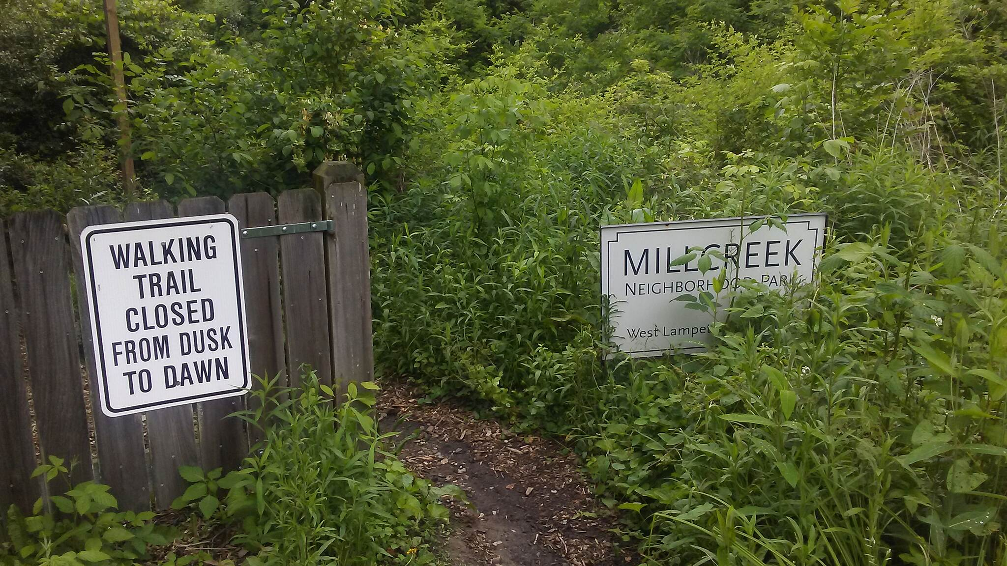 Mill Creek Trail (PA) Mill Creek Trail Signs marking the trail near the northeast terminus.