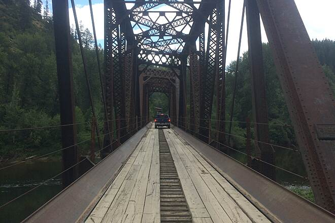 Milwaukee Road Rail-Trail (Pearson to Calder) Trestle over the St Joe River West of Calder on the way to St. Maries