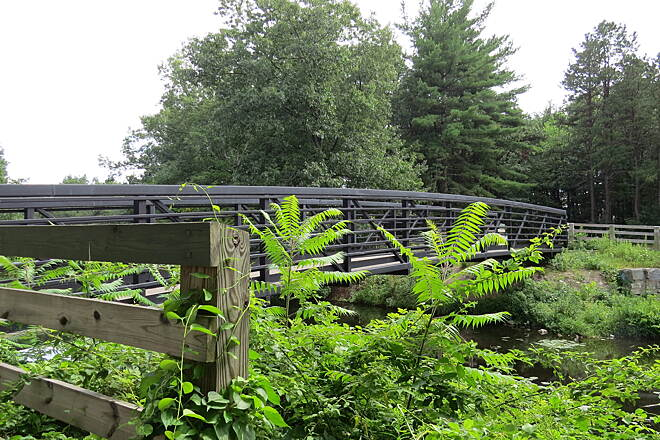 Mine Falls Park Bridge The beautifully paved walkways are nice and wide and we found bikers always ready to alert you when they are coming up by your side. Bridges and pretty views are everywhere. We did find some sections unpaved but still a great place to walk or bike.