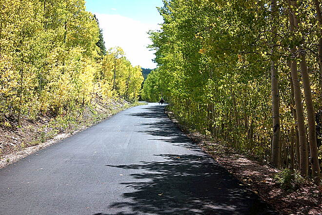 Mineral Belt Trail Trike in the Aspen's My wife and here Terra Trike Cruiser riding thru the 'just starting to turn' Aspen Trees on the Mineral Belt Trail 9-7-2018