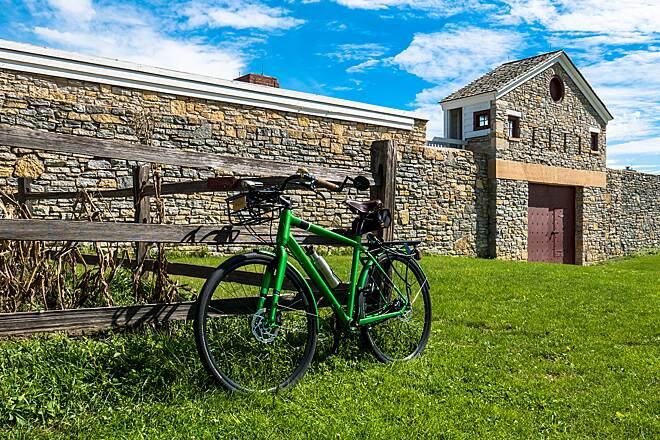 Minnehaha Trail Bike at Fort Snelling Gate The old fort is a beautiful photo op. I'm not sure, but I think this was the old Main Gate of the fort.