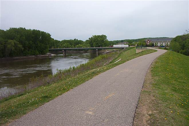 Minnesota Valley State Trail Mn Valley Dikes crowned with trails protect Chaska from river flooding.