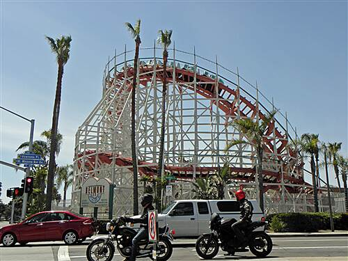Mission Bay Bike Path   Belmont Park's Giant Dipper roller coaster near boardwalk