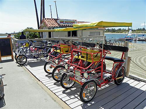 Mission Bay Bike Path   Human-powered rentals available at Hilton Hotel on East side of bay.