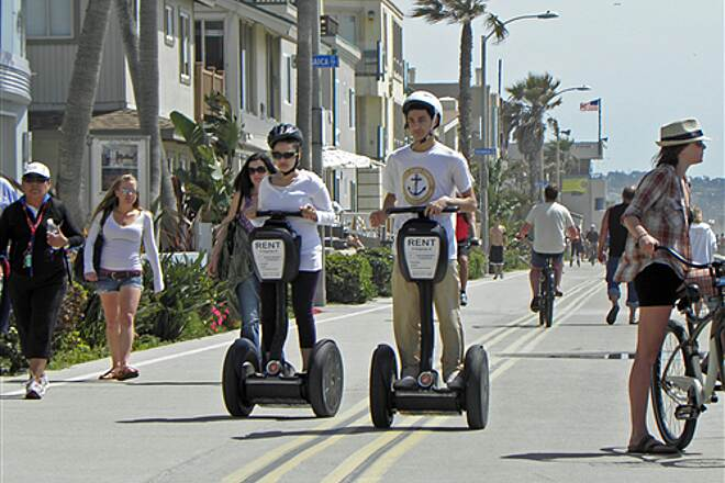 Mission Bay Bike Path   Rented Segways on the boardwalk