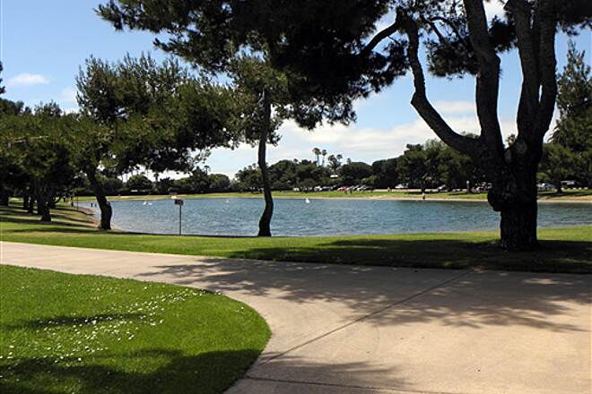 Mission Bay Bike Path   Model boat pond on Vacation Island