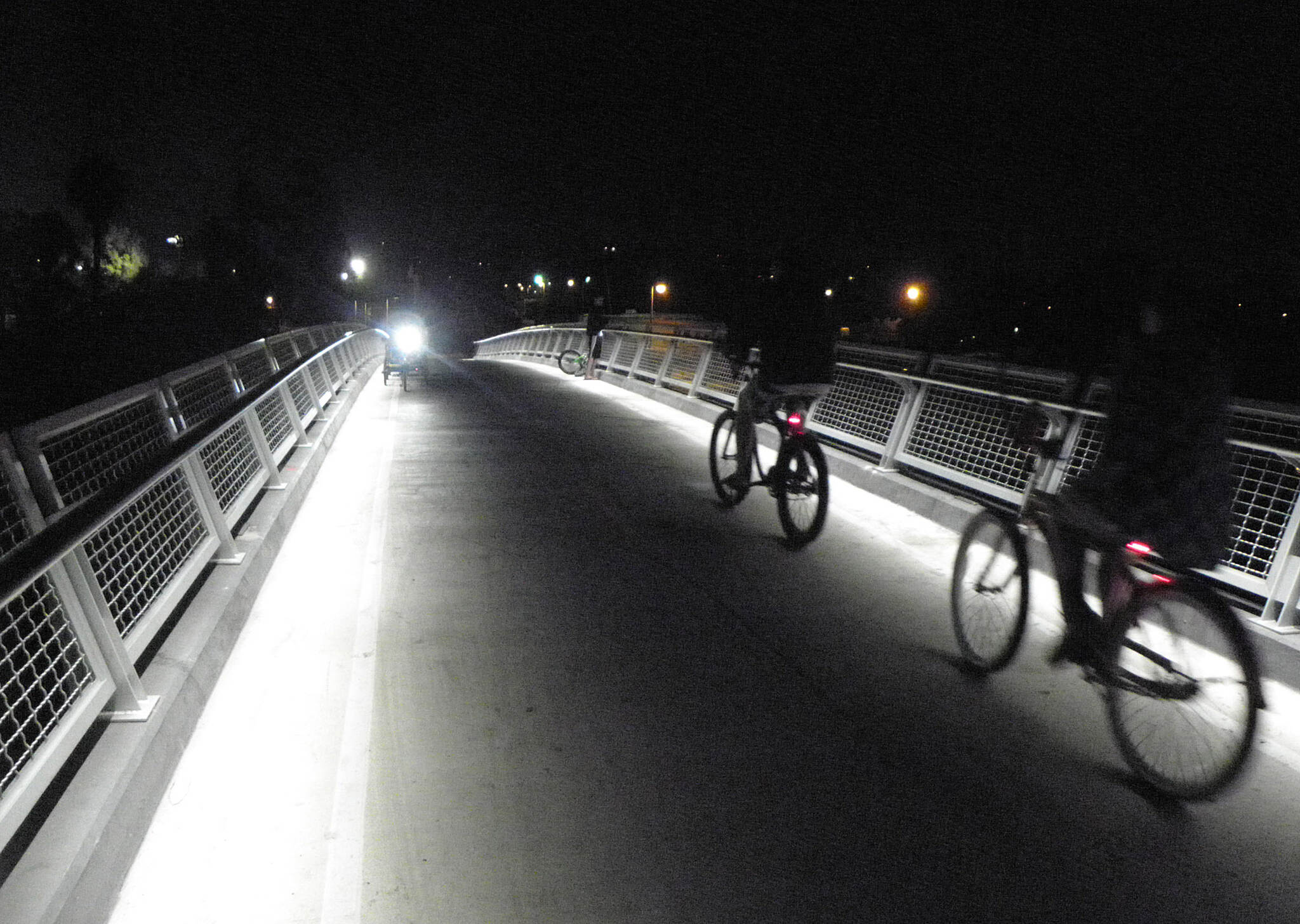 Mission Bay Bike Path The new trail bridge over Rose Inlet Nice lighting comes from under the hand rails, so there are no lights on poles.