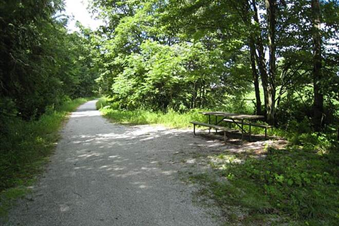 Missisquoi Valley Rail-Trail Picnic table Picnic table near bridge