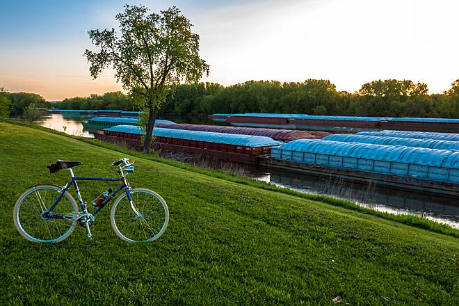 Mississippi River Regional Trail (Dakota County) Bike and Barges on the River Taken at sunrise on the levee near Simon's Ravine.