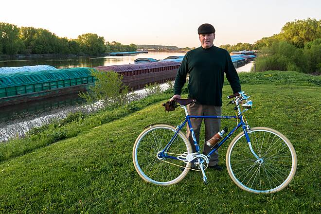 Mississippi River Regional Trail (Dakota County) Bike and Rider at Dawn Me and my Velo de Ville on the levee near Simon's Ravine.