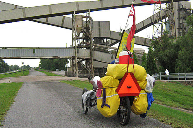 Mississippi River Trail (Louisiana) Levee Top Trail, Summer 2010 This photo was taken on the Levee Trail August, 2010 as part of the WiFi Pedalers Mission POSSIBLE Tour, cycling the entire Mississippi River Trail on recumbent trikes. See blog.theWiFiPedalers.com for details.