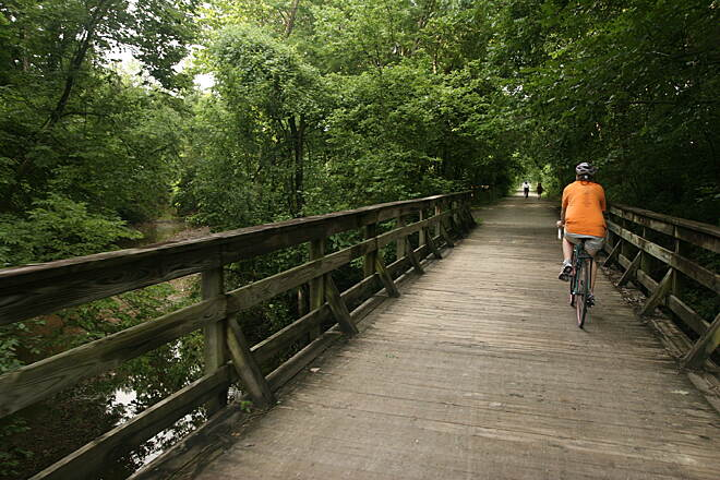 MKT Nature and Fitness Trail Travelers are spirited away from downtown Columbia.  Courtesy Columbia Parks and Recreation Department.