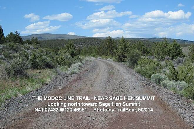 Modoc Line Rail Trail THE MODOC LINE Up by Sage Hen Summit, looking north