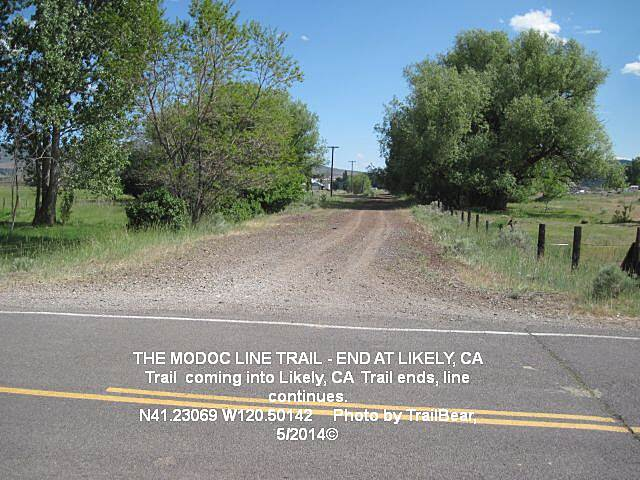 Modoc Line Rail Trail THE MODOC LINE Trail end in Likely, CA.  Looking south toward Susanville