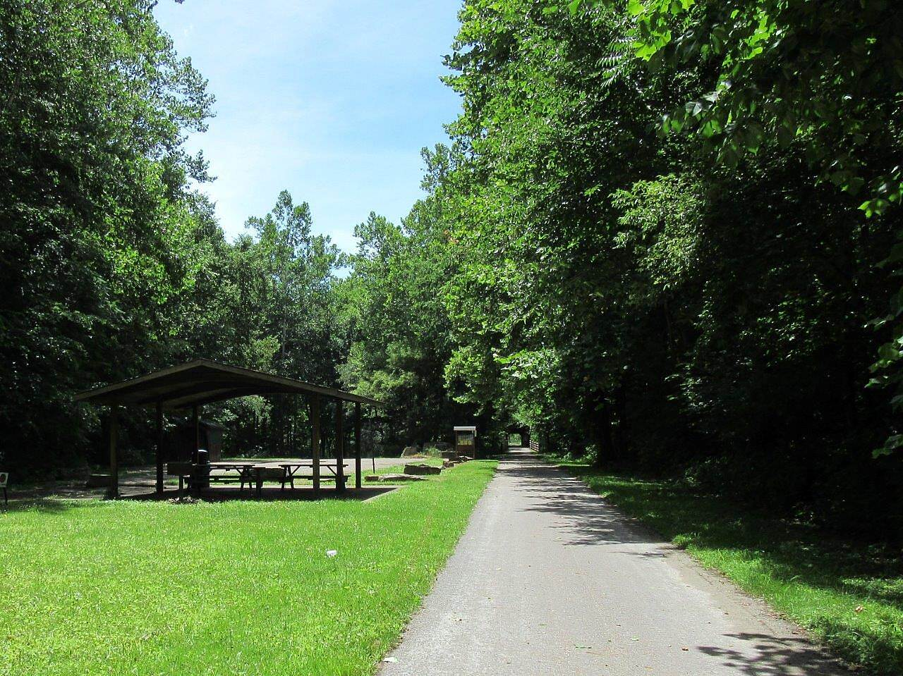 Mohican Valley Trail Picnic Area Picnic area and parking with outhouses.  located near the covered bridge.