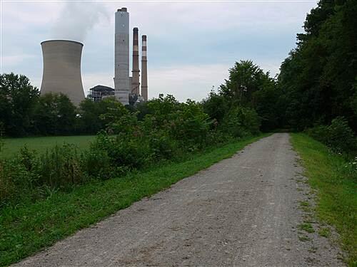 Mon River Trail North fort martin power plant near the PA state line